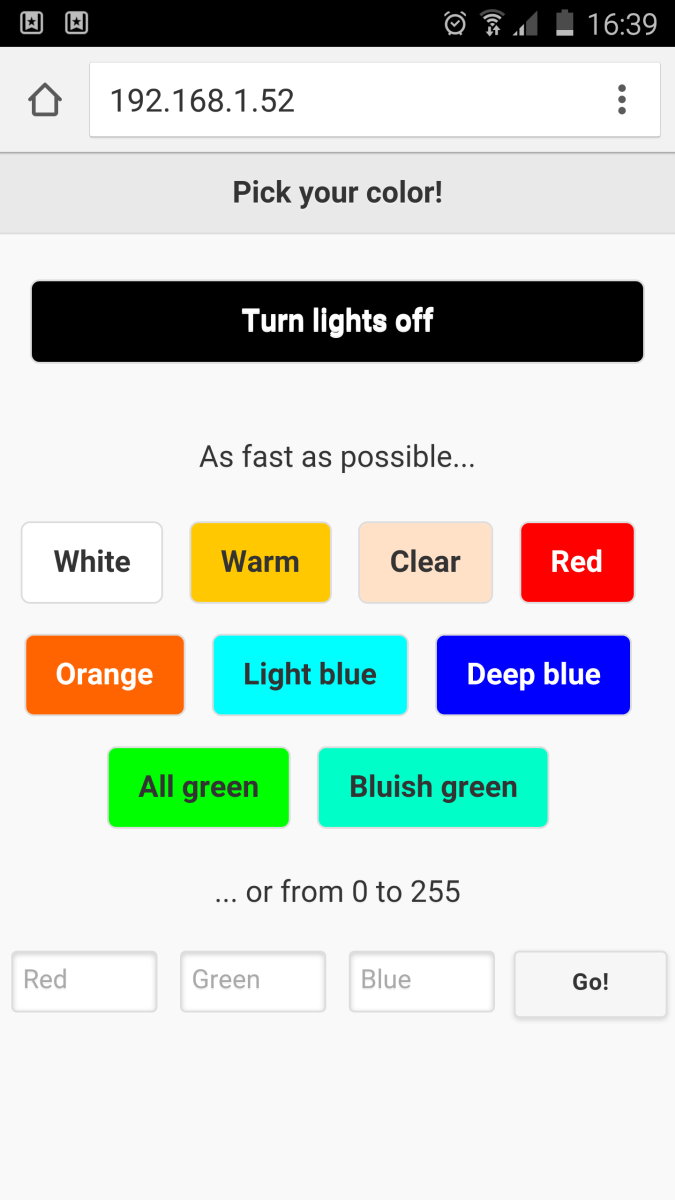 How To Control Rgb Led Lights From Your Phone Coder Agora 9v Wiring Diagram Mobile Webpage Screenshot